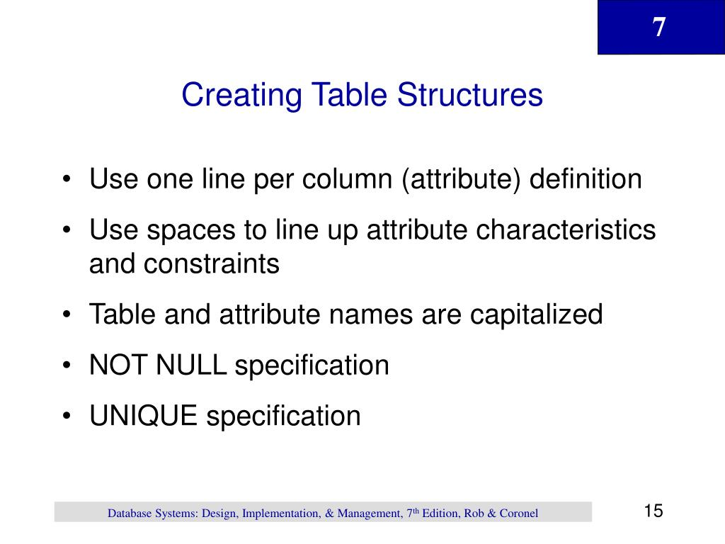 Creating Table Structures