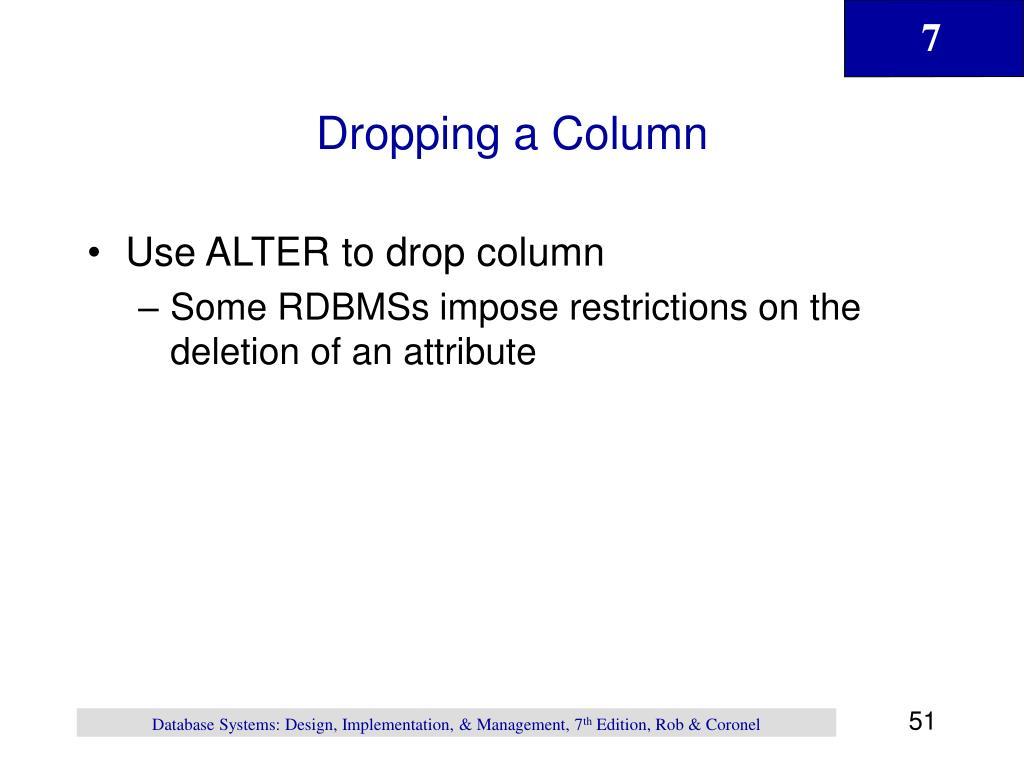 Dropping a Column