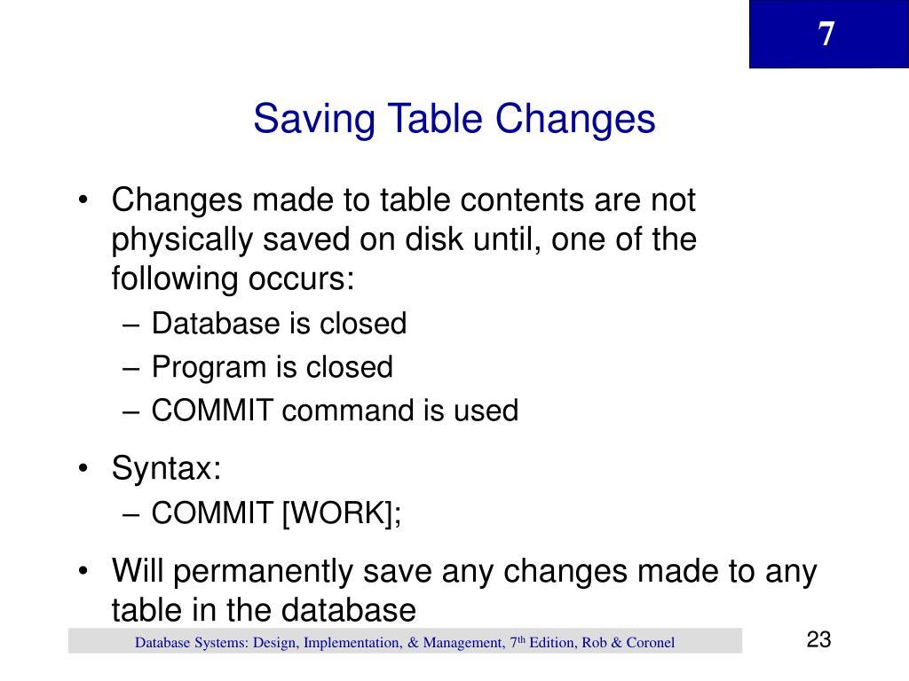 Saving Table Changes