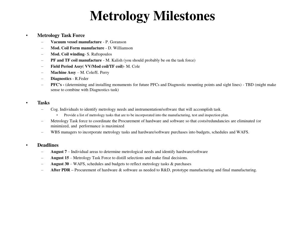 metrology milestones