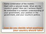 how do you decide what positions your country should take