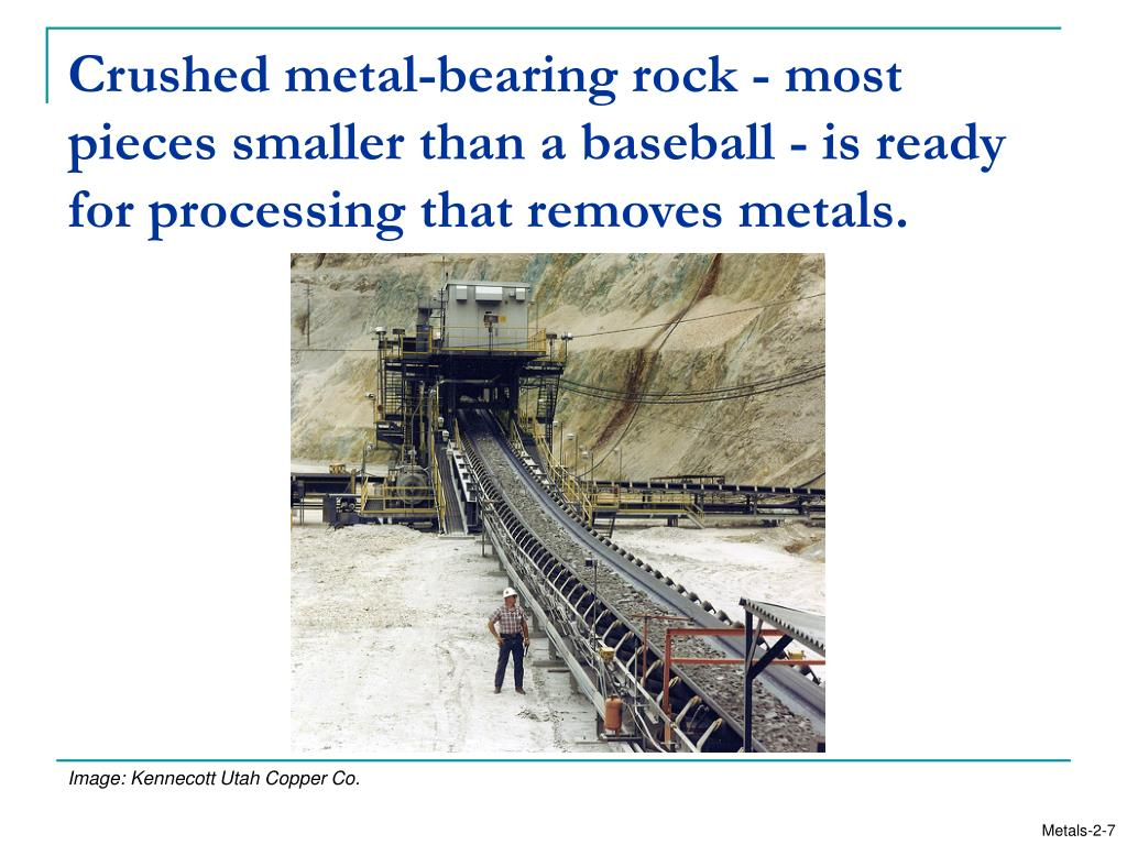 Crushed metal-bearing rock - most pieces smaller than a baseball - is ready for processing that removes metals.