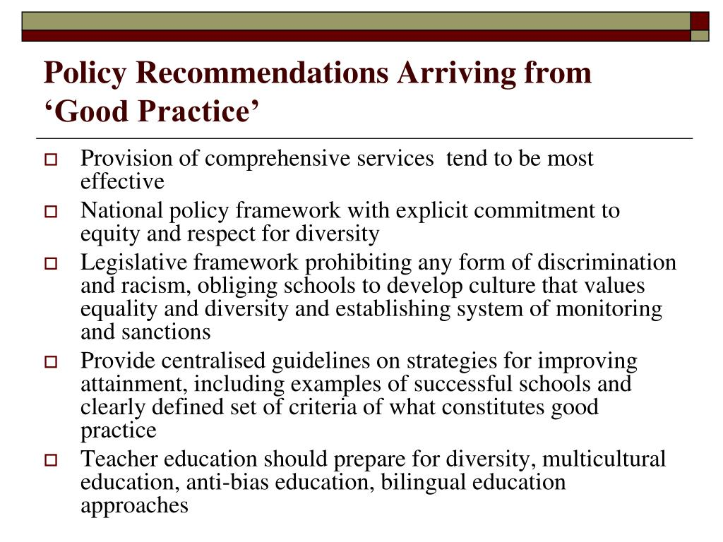 Policy Recommendations Arriving from 'Good Practice'