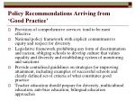 policy recommendations arriving from good practice
