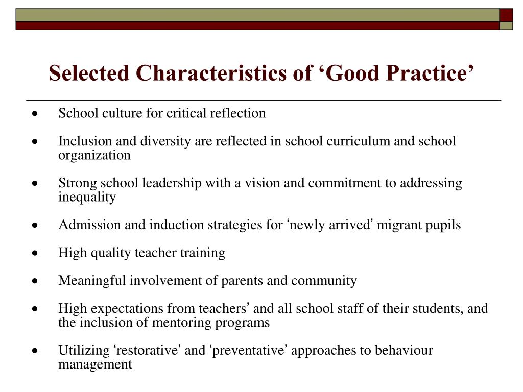 Selected Characteristics of 'Good Practice'