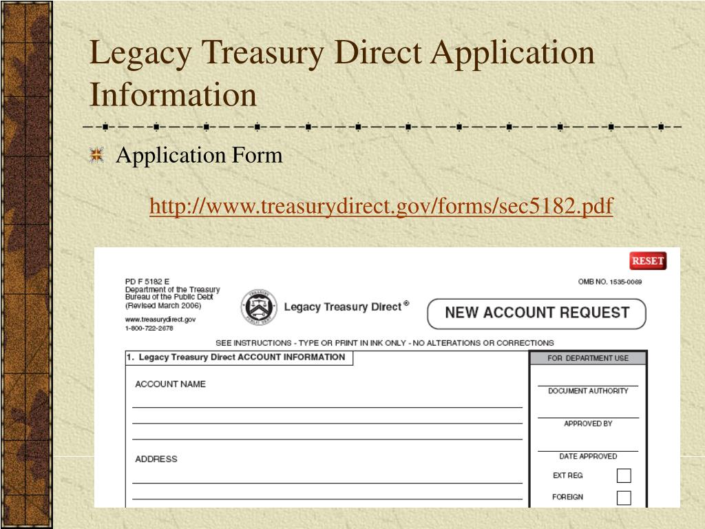 Legacy Treasury Direct Application Information