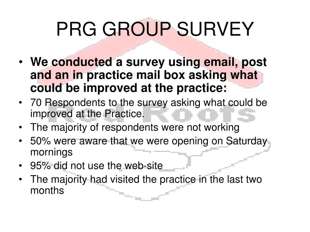 PRG GROUP SURVEY