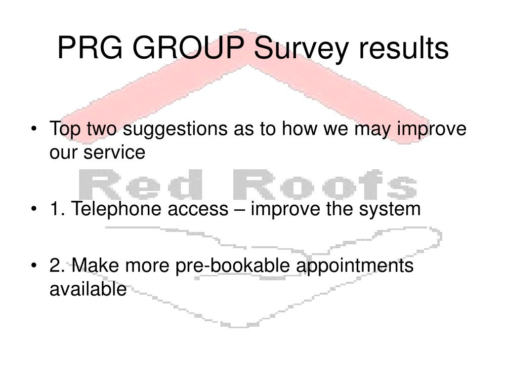 PRG GROUP Survey results