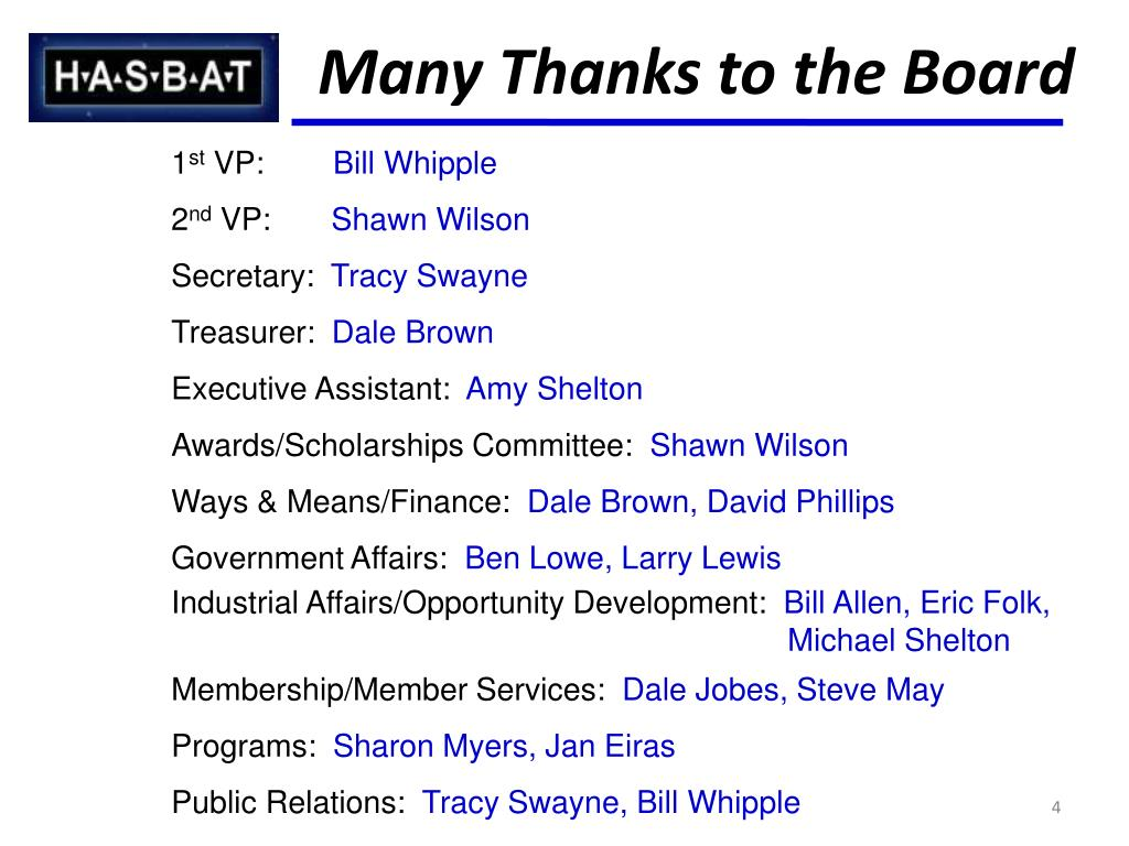 Many Thanks to the Board