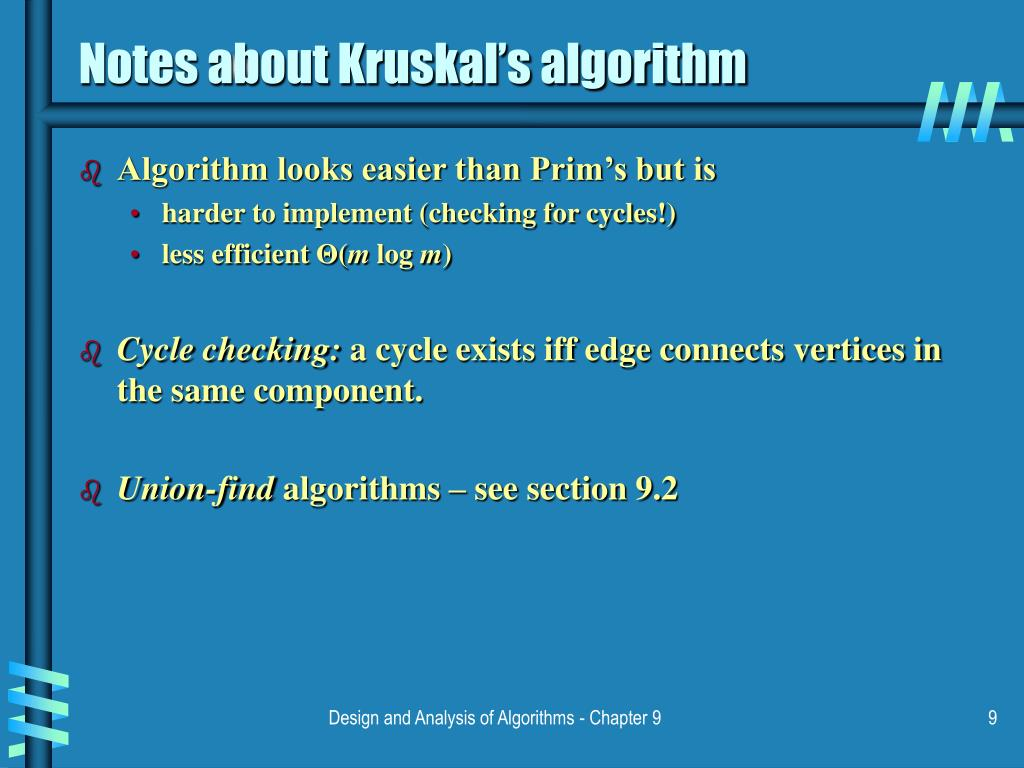 Notes about Kruskal's algorithm