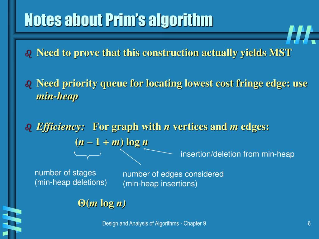 Notes about Prim's algorithm