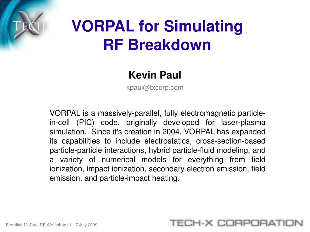 VORPAL for Simulating