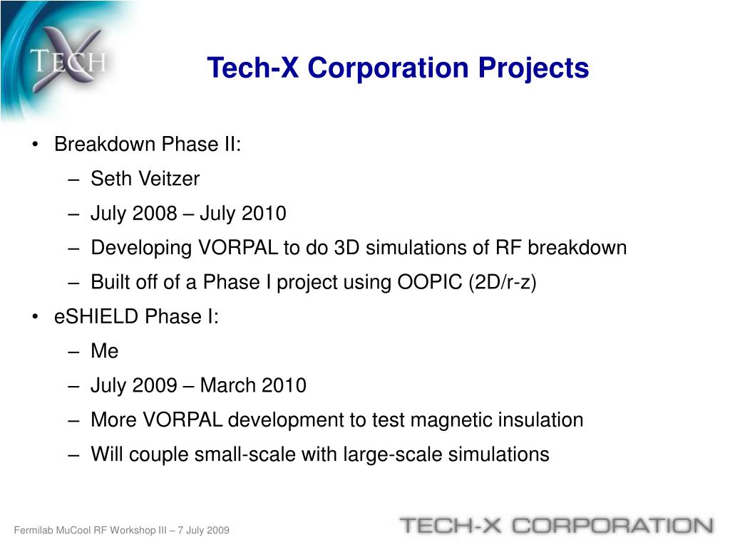 Tech-X Corporation Projects