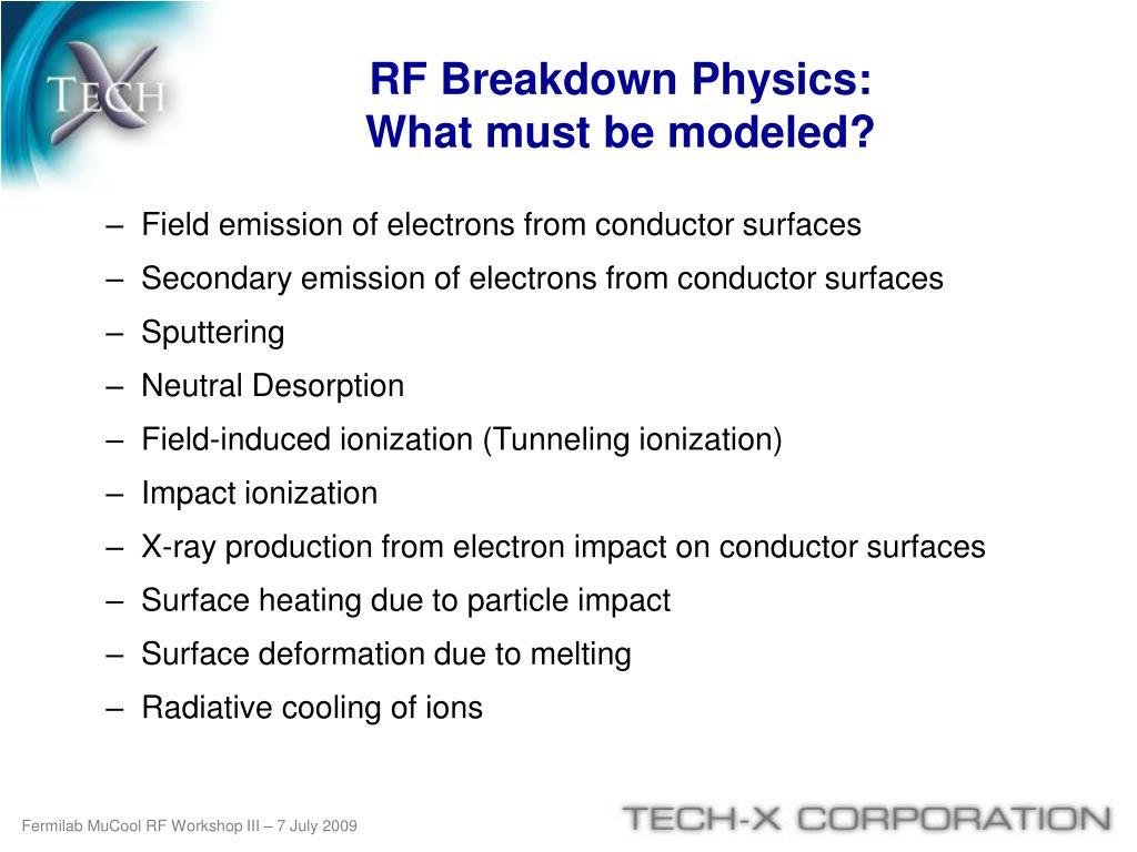 RF Breakdown Physics:
