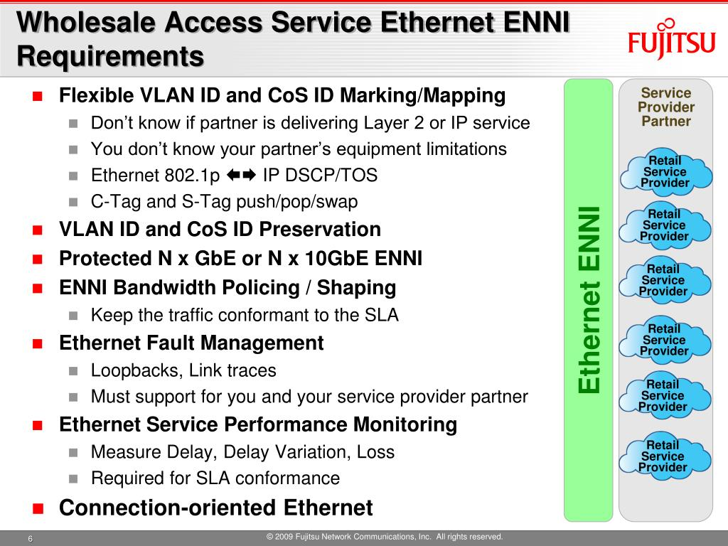 Wholesale Access Service Ethernet ENNI Requirements