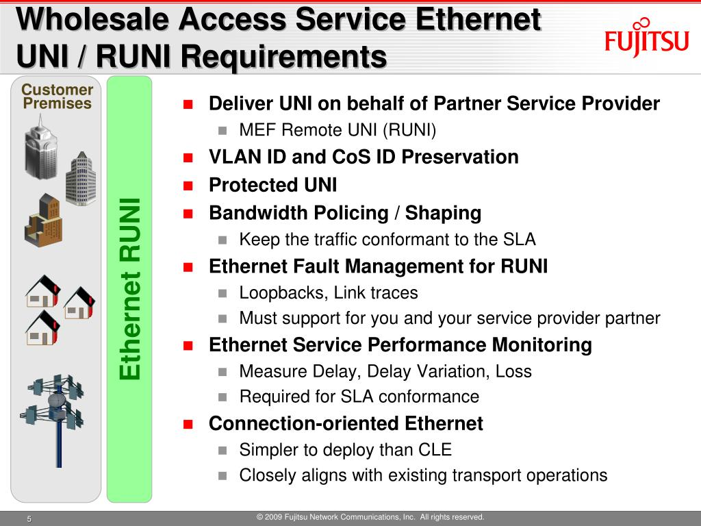 Wholesale Access Service Ethernet UNI / RUNI Requirements