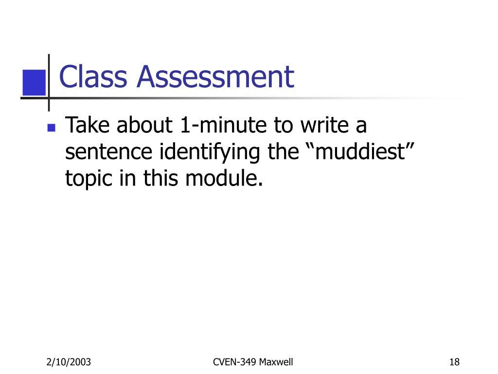 Class Assessment