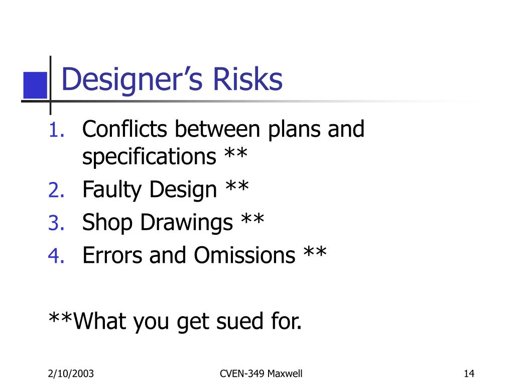 Designer's Risks