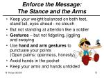 enforce the message the stance and the arms