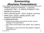 summarizing business presentations