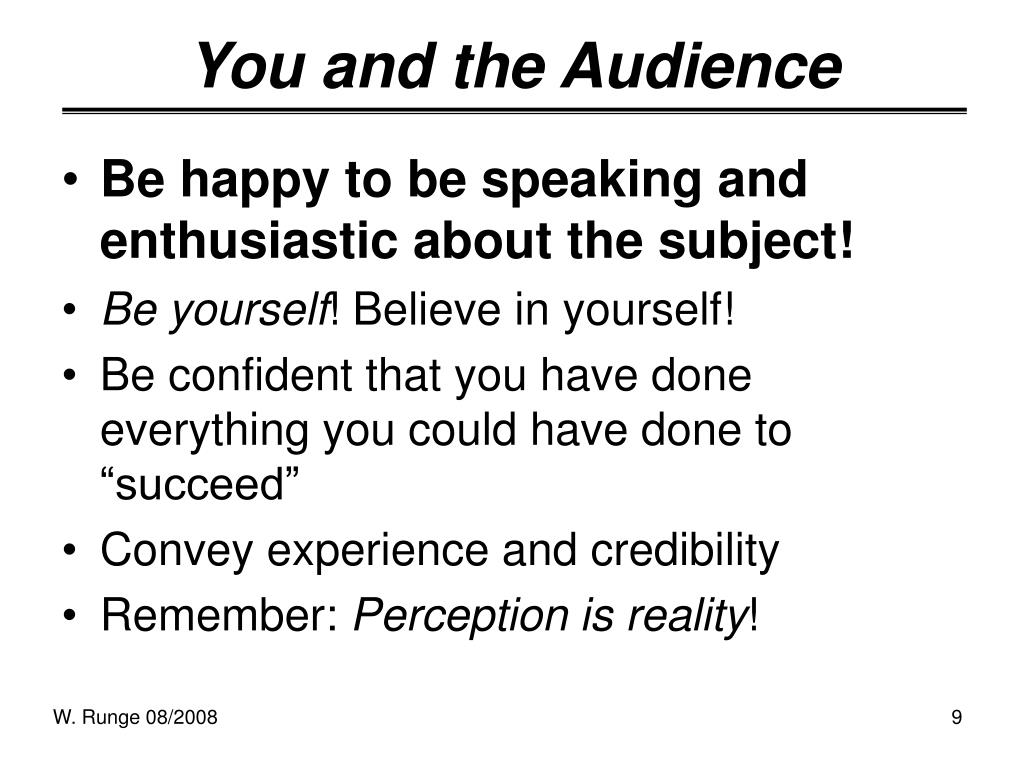 You and the Audience