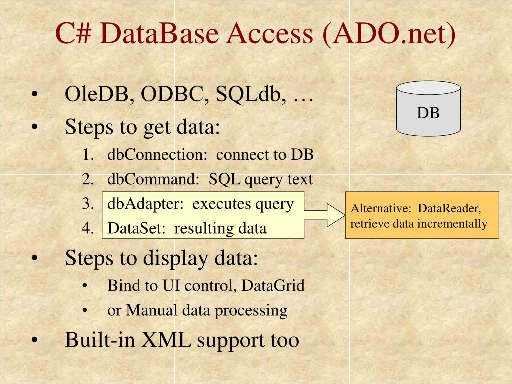 C# DataBase Access (ADO.net)