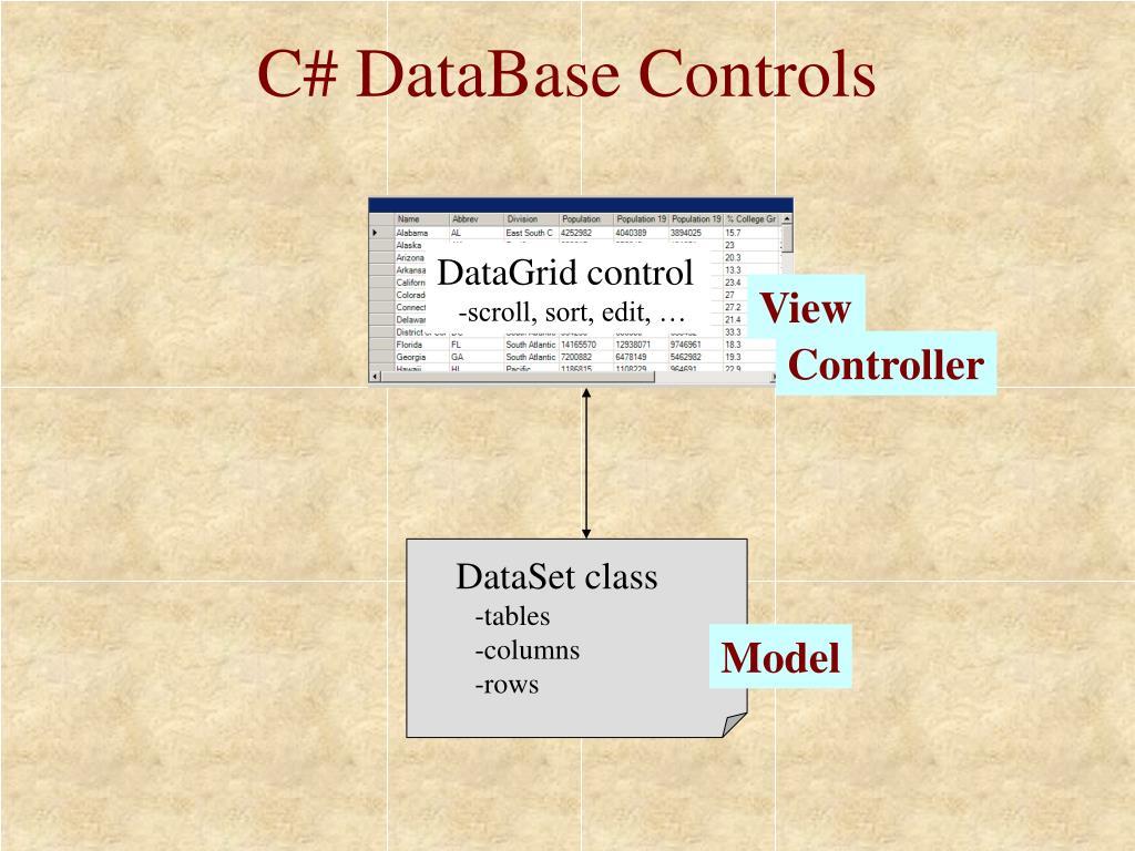 C# DataBase Controls