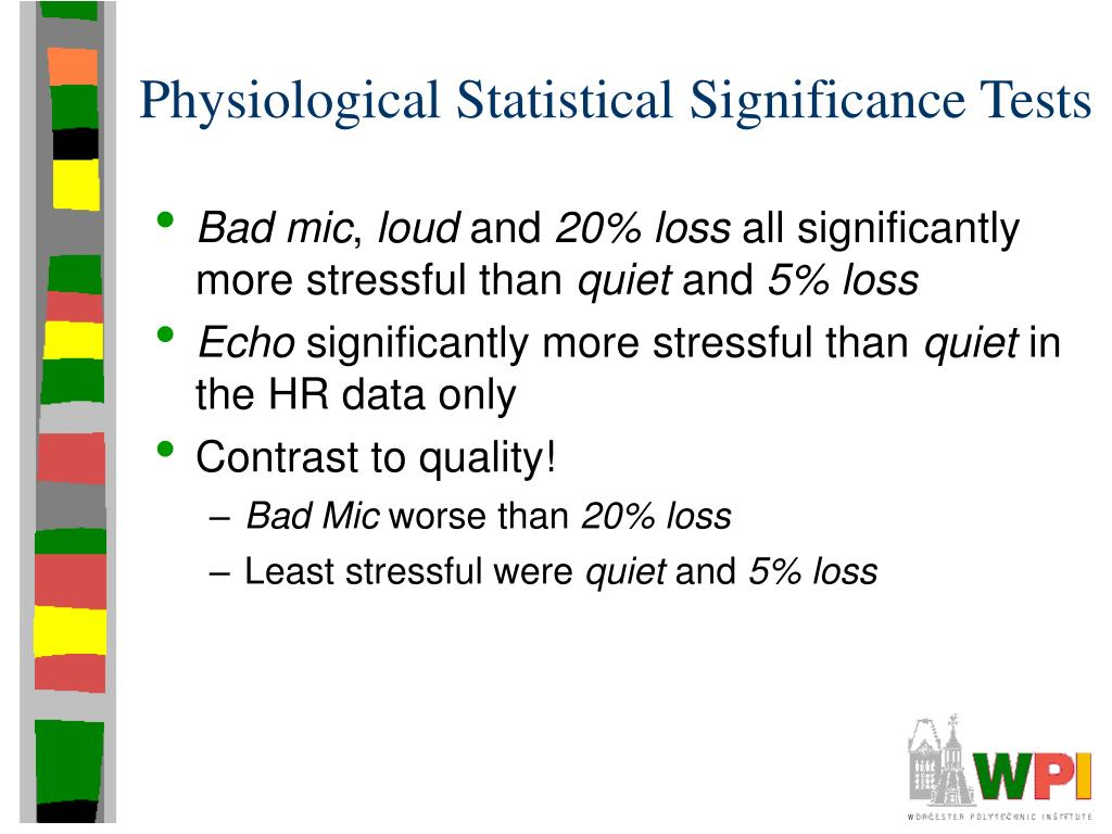 Physiological Statistical Significance Tests