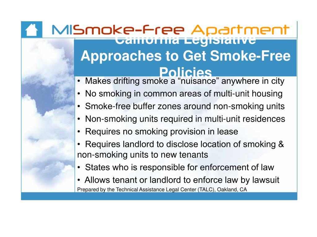 California Legislative Approaches to Get Smoke-Free Policies