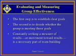 evaluating and measuring group effectiveness