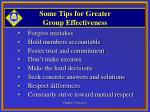 some tips for greater group effectiveness