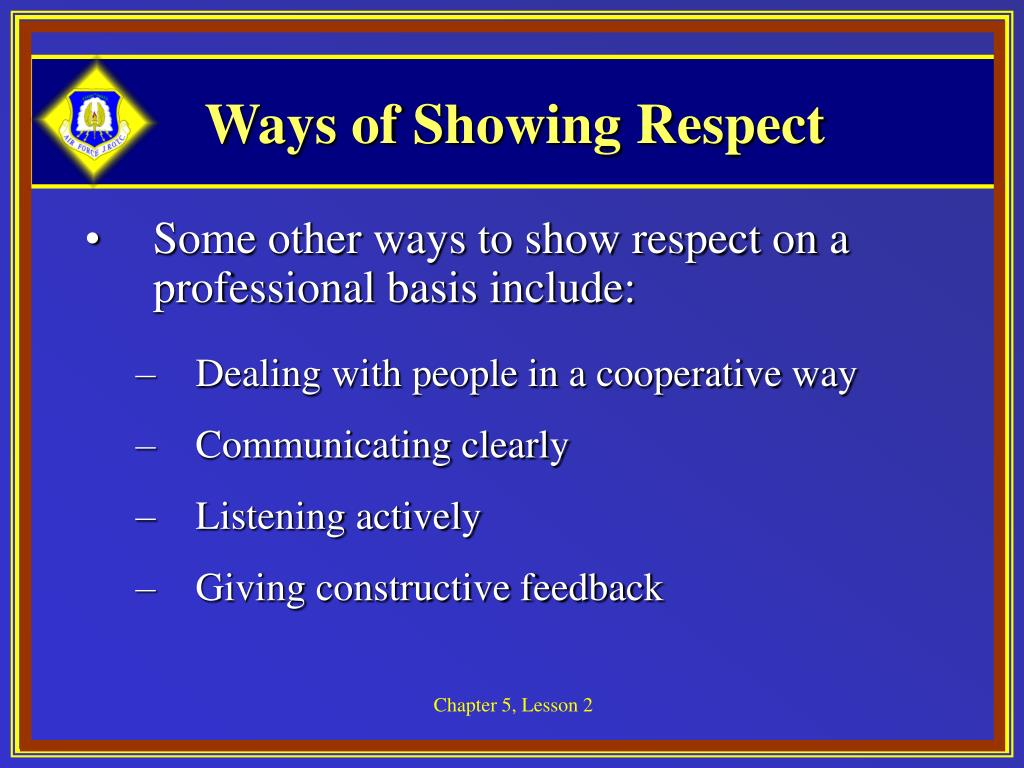 Ways of Showing Respect