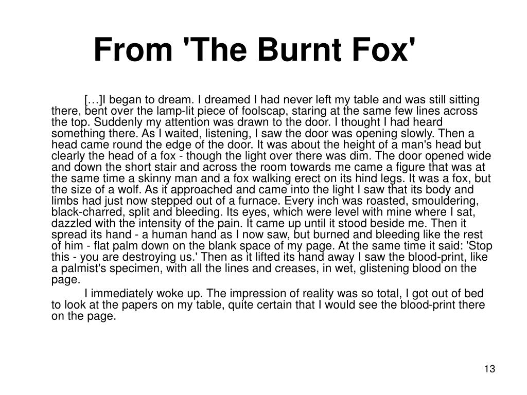 From 'The Burnt Fox'