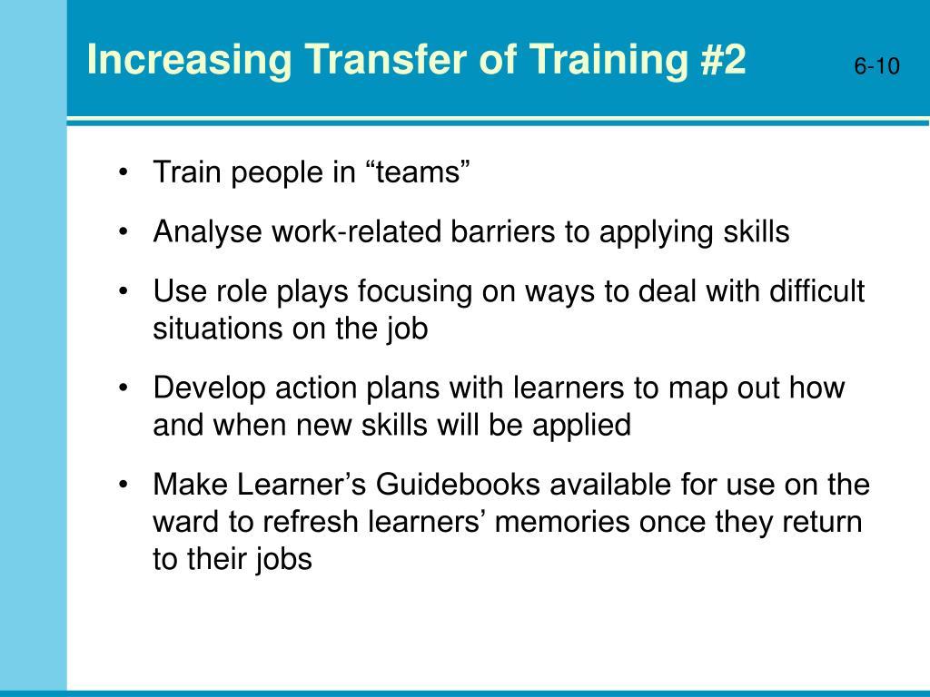 Increasing Transfer of Training #2