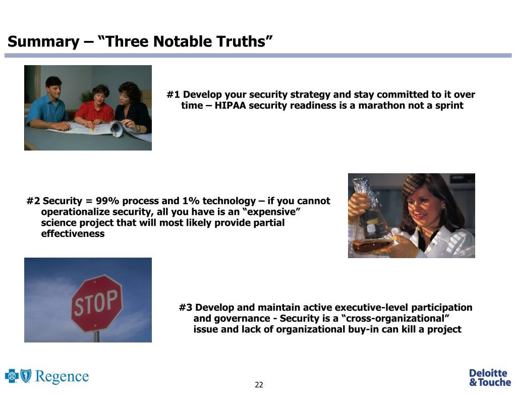 "Summary – ""Three Notable Truths"""