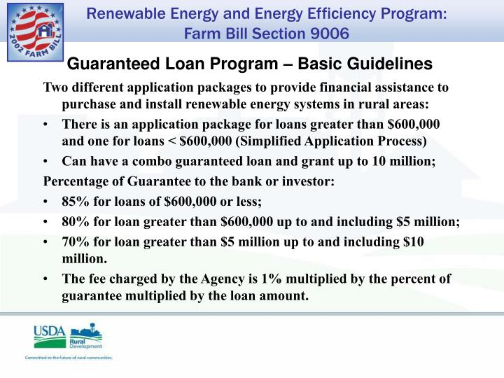 Guaranteed Loan Program – Basic Guidelines