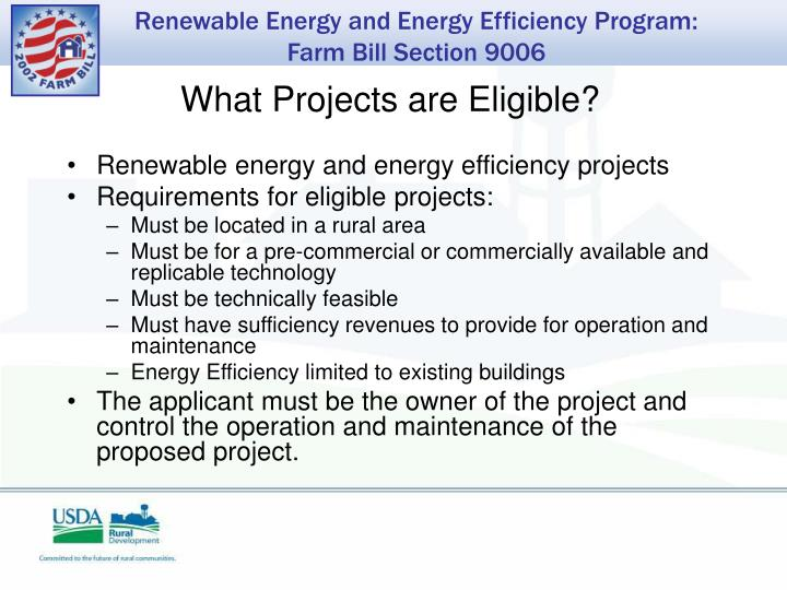 What Projects are Eligible?