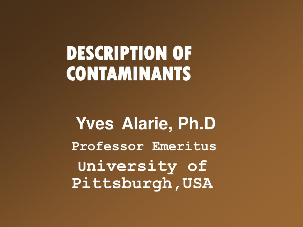 description of contaminants