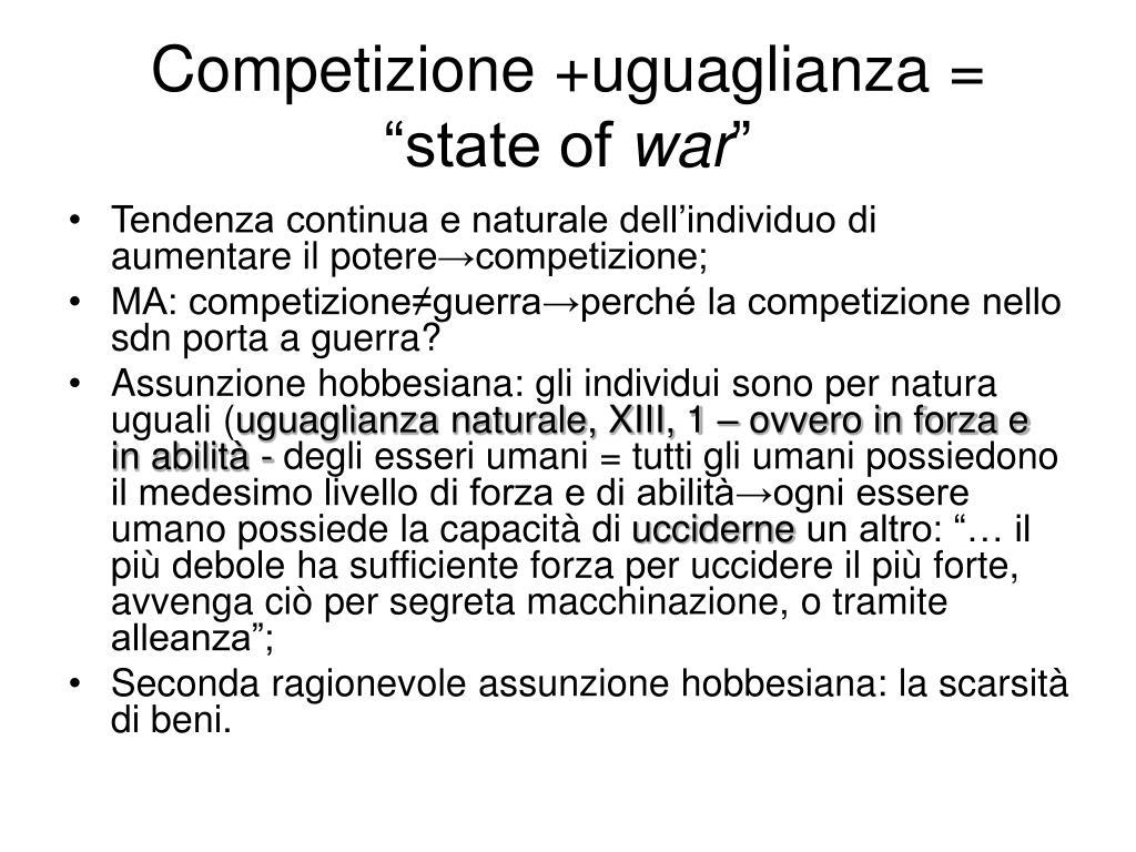 """Competizione +uguaglianza = """"state of"""