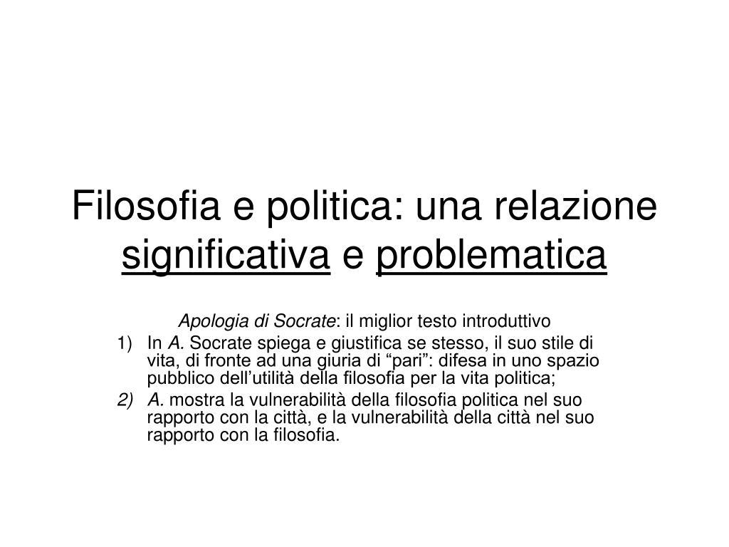 Filosofia e politica: una relazione
