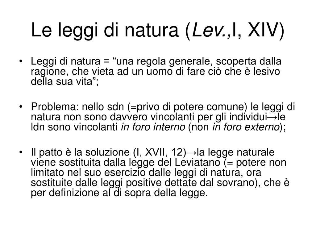 Le leggi di natura (