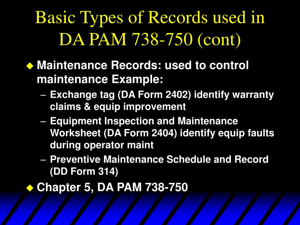 Basic Types of Records used in DA PAM 738-750 (cont)