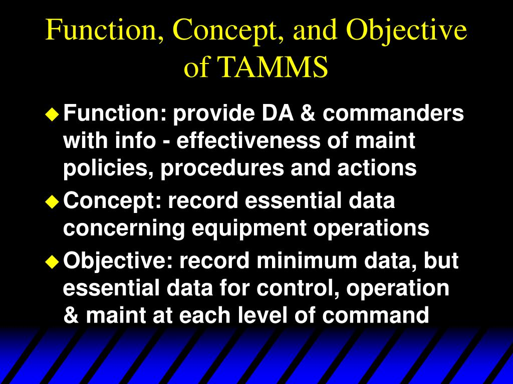 Function, Concept, and Objective of TAMMS