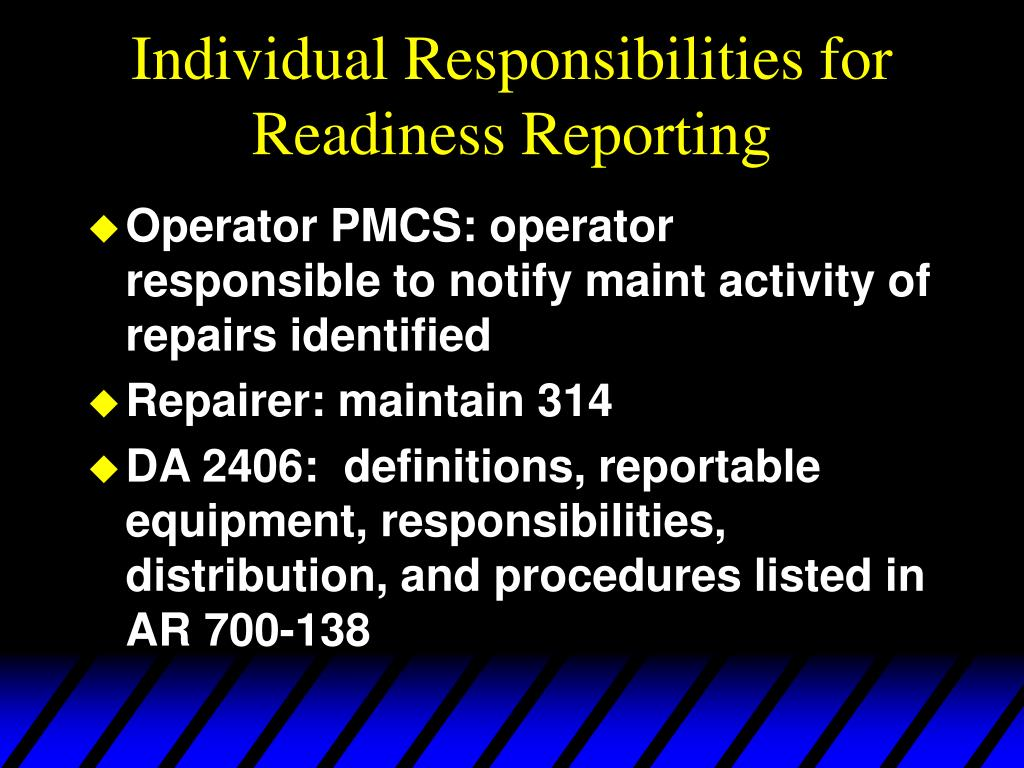Individual Responsibilities for Readiness Reporting