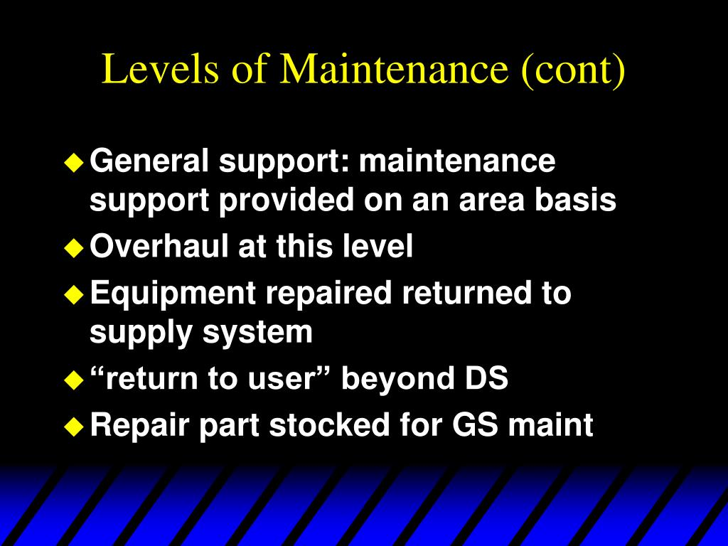 Levels of Maintenance (cont)