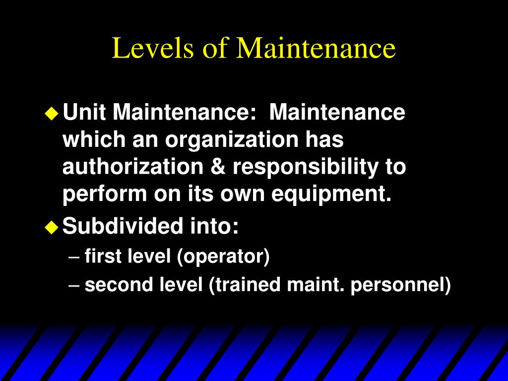 Levels of Maintenance