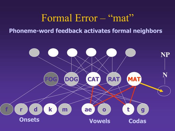 """Formal Error – """"mat"""""""