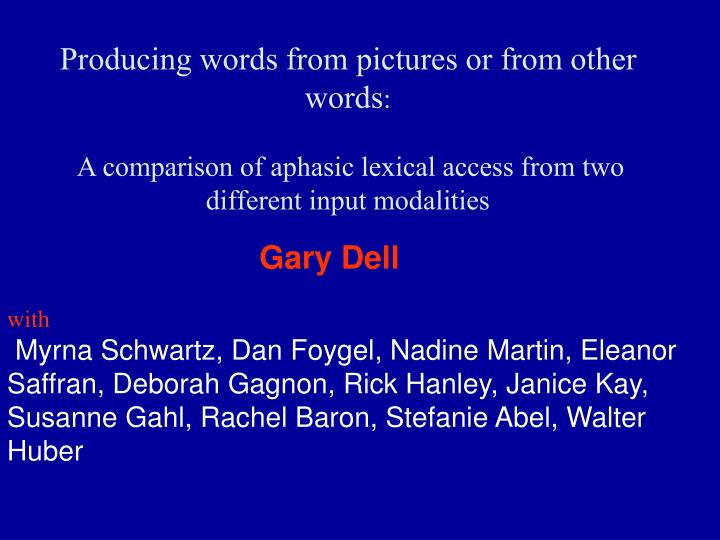 Producing words from pictures or from other words