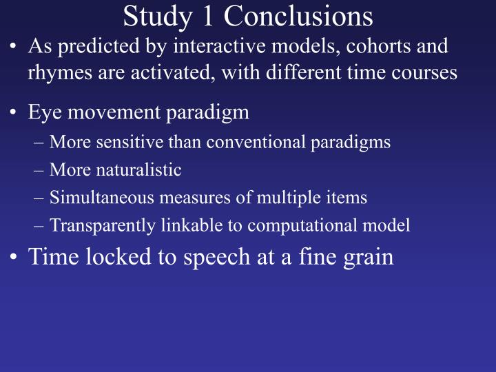 Study 1 Conclusions