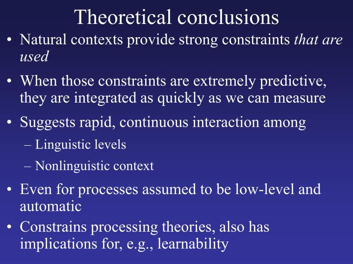 Theoretical conclusions